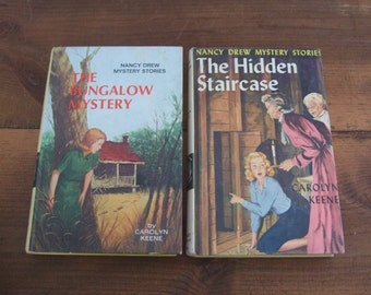 Vintage Nancy Drew Books - The Hidden Staircase & The Bungalow Mystery