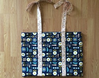 Large Handmade All-Purpose Lined Bag with Bow Handles - Diaper Bag / Large Bag / Large Tote / Large Purse / Gifts Under 50 / Handmade Gift