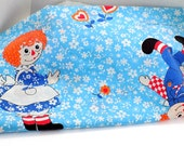 Vintage Raggedy Ann Andy Bed Full Flat Sheet Fabric Sewing