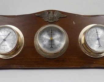 Mid century Modern Wall Barometer with eagle embellishment