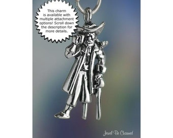 Sterling Silver Pirate Charm with Peg Leg and Parrot Raider Solid .925