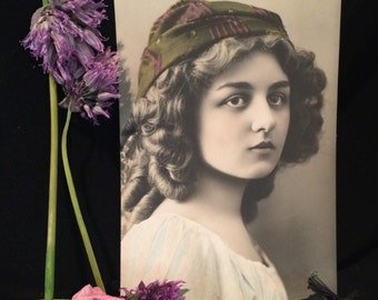Real Photo Postcard - Beautiful Curly Haired Girl with Hat - Tinted - RPPC