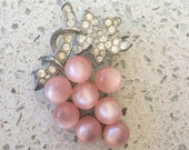 "Vintage Art Deco Antique Silver Rhinestone Iridescent Lucite Pink Jelly Belly Grapes Brooch 2.25"" - RARE"