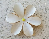 "Vintage Signed ""SANDOR"" 6 Petal White Flower Yellow Center Brooch Pin  2"" excellent condition"