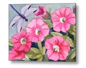 Dragonfly and Pink Flowers Watercolor Print on Wood, Cottage Chic Decor, Garden Wall Art by Janet Zeh