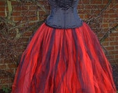 womens ladies  long black red tutu skirt adult tulle LINED  maxi goth weddings fairy lagenlook gypsy witch size 18 20 22 24 XL XXL
