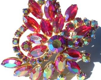 Vintage Jewelry Pink Rhinestone Brooch With Aurora Borealis Stones On Brass Spray Formal