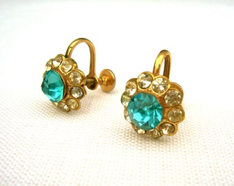Vintage earrings gold turquoise blue clear white rhinestone spring mid century jewelry clip on, mixed media assemblage altered art supply