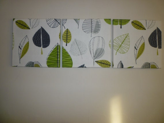 Funky fabric lime green wall art gray modern home decor for Lime green wall art