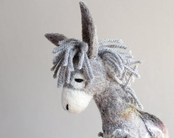 Felt Toy - Serafim - Felted Donkey. Art Toy. Marionette, Puppet, Stuffed plush animal for kids  Room decor  baby shower gift . grey gray.