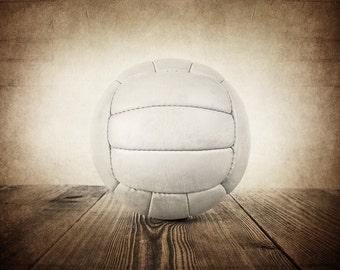 FLASH SALE Vintage VolleyBall on Wood  Photo Print, Sports Room decor, Boys Nursery Ideas, Sports art, Sport Prints