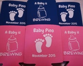 Baby Shower favors Can Coolers design 1011625329 lot of 50 custom can party favor Double Side print - Stock Art Available