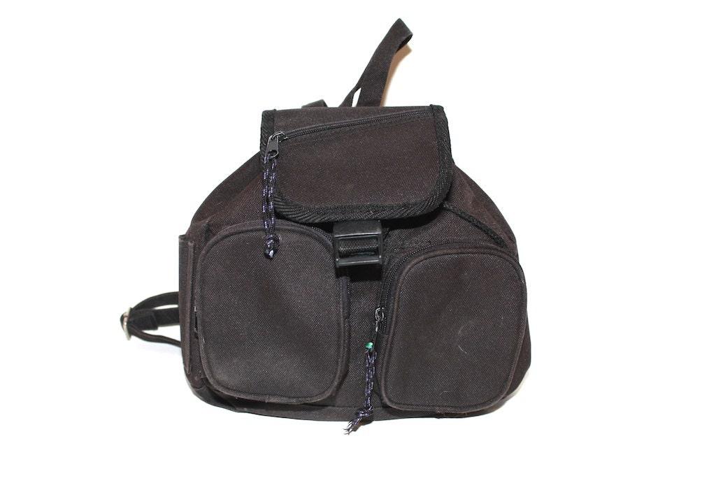 cute vintage vegan black mini backpack purse by
