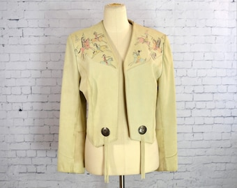 Vintage Beige Suede Leather Jacket / Coat, 1980s Hand Painted w/ Native American Indians by Pioneer Wear, Wm's M