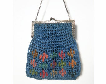 Vintage Crochet / Knit  Handbag Purse from the 1920's-30's, Light Blue Frame Top Purse
