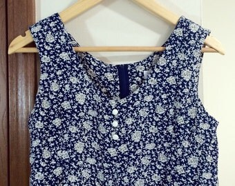 Vintage Early 90s Express Romper / Navy Blue with White Floral Print / XS