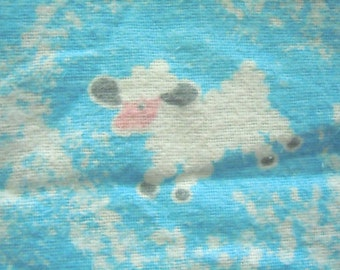 Vintage Fabric Nursery Cloth- Nursery Lamb and Sky Cloth