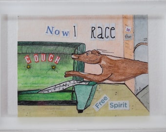 "Greyhound Small Watercolor, Collage, Ink ""Free Spirit"""