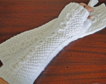 Knit Extra Long Cabled Wrist Warmers Fingerless Gloves Texting Gloves