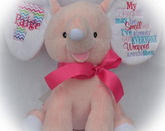 Personalized Stuffed Elephant - Baby Shower Gift - Girl Elephant Cubbie - Pink