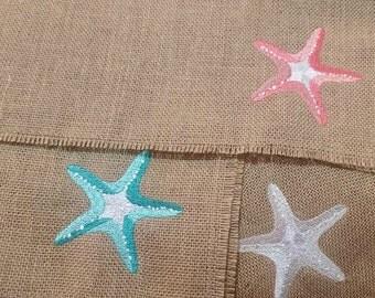 Burlap Starfish Embroidered Placemats - Set of 4 - Coastal Decor