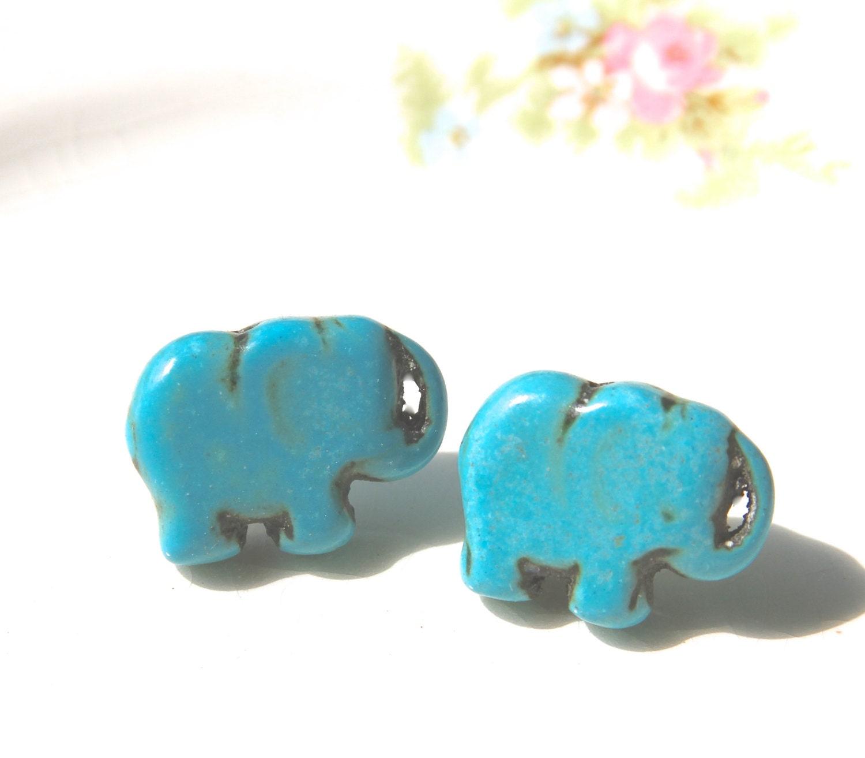 turquoise blue elephant stud earrings elephant earrings