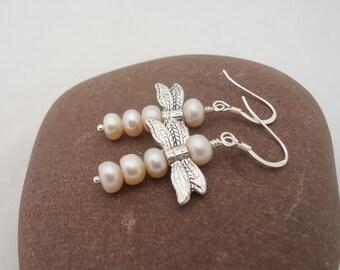 Dragonfly Pears Earrings, Dragonfly Peach Pearls Earrings, Sterling Silver,  Bridal Earrings, Dragonfly Earrings,Gemstone Earrings