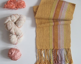 Handwoven Scarf Golden Wheat tones Bronze and Pink