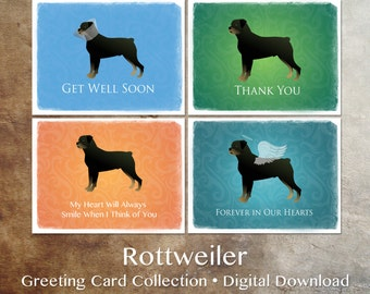 Rottweiler Dog Greeting Card Collection - Digital Download Printable