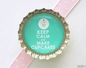 Green Keep Calm and Make Cupcakes Bottle Cap Magnet, cupcake magnet, fridge magnet, cupcake baby shower favors, cupcake party favors, decor