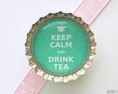 Keep Calm and Drink Tea Bottle Cap Magnet - green tea party favor, tea party theme, tea party birthday, keep calm and carry on fridge magnet