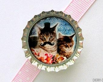 Mustache Cat Magnet, Bottle Cap Magnet, fridge magnet, cat lover gift, cat art magnet, funny gift, cat lady gift, birthday party favors