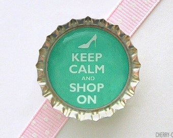 Keep Calm and Shop On Bottle Cap Magnet - keep calm and carry on, shoe party favor, shoe party theme, fridge magnet, handmade magnet, gifts
