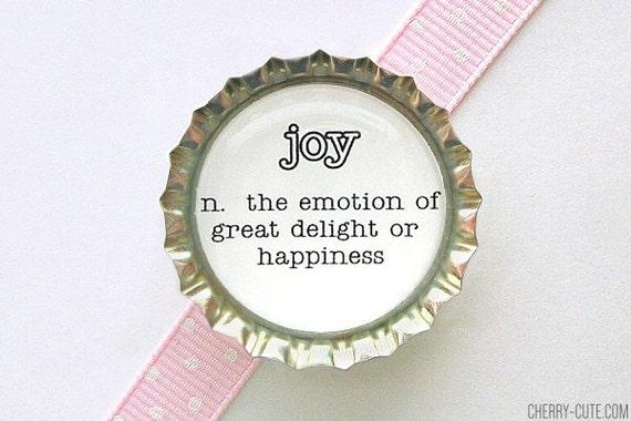 Joy Dictionary Definition Bottle Cap Magnet - joy definition, of joy, black and white decor, kitchen organization, word art fridge magnets