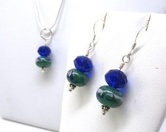 OOAK - Sapphire Blue and Green Jewelry Set - Necklace and Earrings - FREE Gift Wrap!