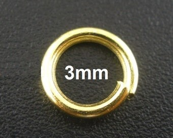 100 pcs Gold Plated Open Jump Rings - 3mm - 25 Gauge