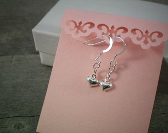 Sterling Silver Tiny Heart Earrings