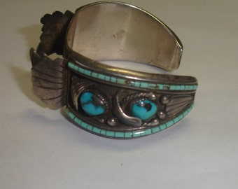 Vintage Native American Navajo Sterling Silver Wide Watch Cuff Bracelet w Turquoise Cabs & Beads - 4 Repair