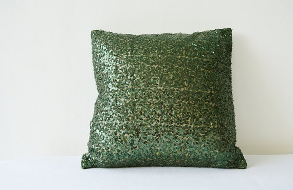Green Sequin Throw Pillow : Items similar to Dark Green Sequin Pillow Cover , Forest Green Sequin Pillow, Green Holiday ...