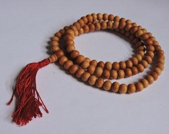 Tibetan mala Wood bead mala 108 beads with red tassel for meditation