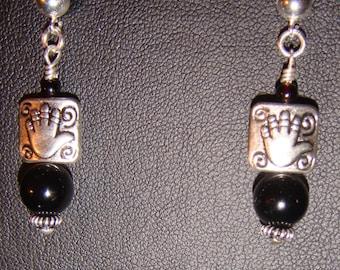 Black Jade and Silver Healing Hands Earrings