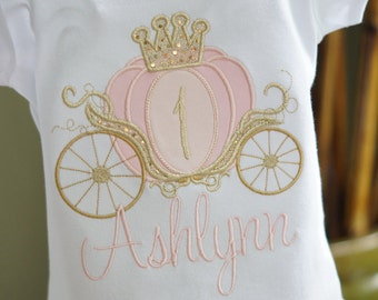 Pink and Gold Cinderella Carriage Princess Birthday Toddler Tee Shirt - First Birthday or ANY AGE - Princess Party