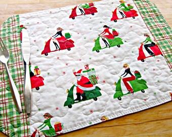 Christmas Placemats, Quilted Placemats, Santa Placemats, Vespa Decor, Retro Decor, Scooter Decor, Vespa Fabric, Retro Placemats