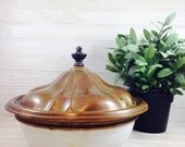 Vintage Copper and Enamel Chafing Dish