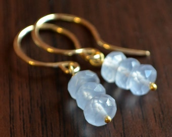 Blue Gemstone Earrings, Natural Chalcedony Stones, Drops, Sterling Silver or Gold Jewelry, Soft Periwinkle Stacks, Free Shipping