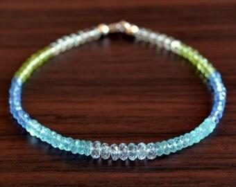 Blue Topaz Beaded Bracelet, Sterling Silver, Apatite Peridot Green Amethyst Gemstone Jewelry, Free Shipping