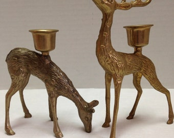 Vintage Brass Deer Candle Holders