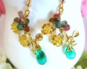 Gold cherry blossom emerald green quartz dangle earrings, gold sakura emerald green quartz earrings, nature inspired spring sakura earrings