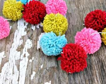 Red, Turquoise, Pink and Green | Yarn Pom Pom Garland | Pompoms | Christmas Garland | Christmas Decor | Holiday Decor | Buntings | Props