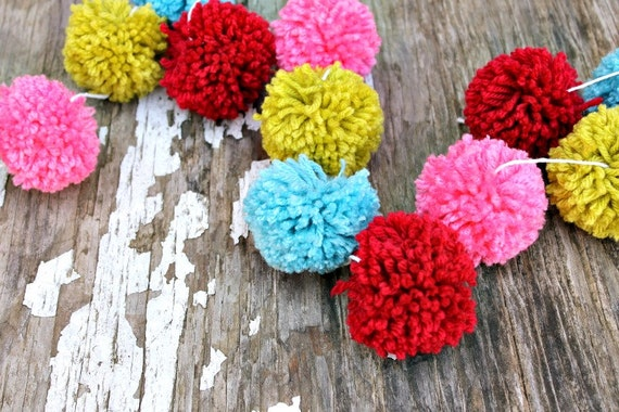 Red turquoise pink and green yarn pom garland